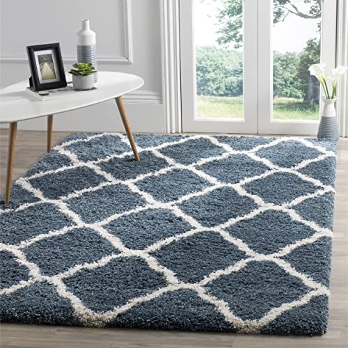 Safavieh Hudson Shag Collection SGH283L Slate Blue and Ivory Moroccan Geometric Area Rug 3 x 5