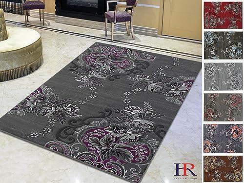 HR-Purple Grey Silver Black Abstract Area Rug Modern Contemporary Flower Swirls Pattern 7 8 X10