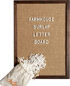 Burlap Letter Board - The New Felt Letter Board – 12x17 Inch, Rustic Cherry Wood Frame, 374 Precut White Letters, Script Words, Emojis, Wall Hook, Canvas Bag, Stand - Changeable Message Board