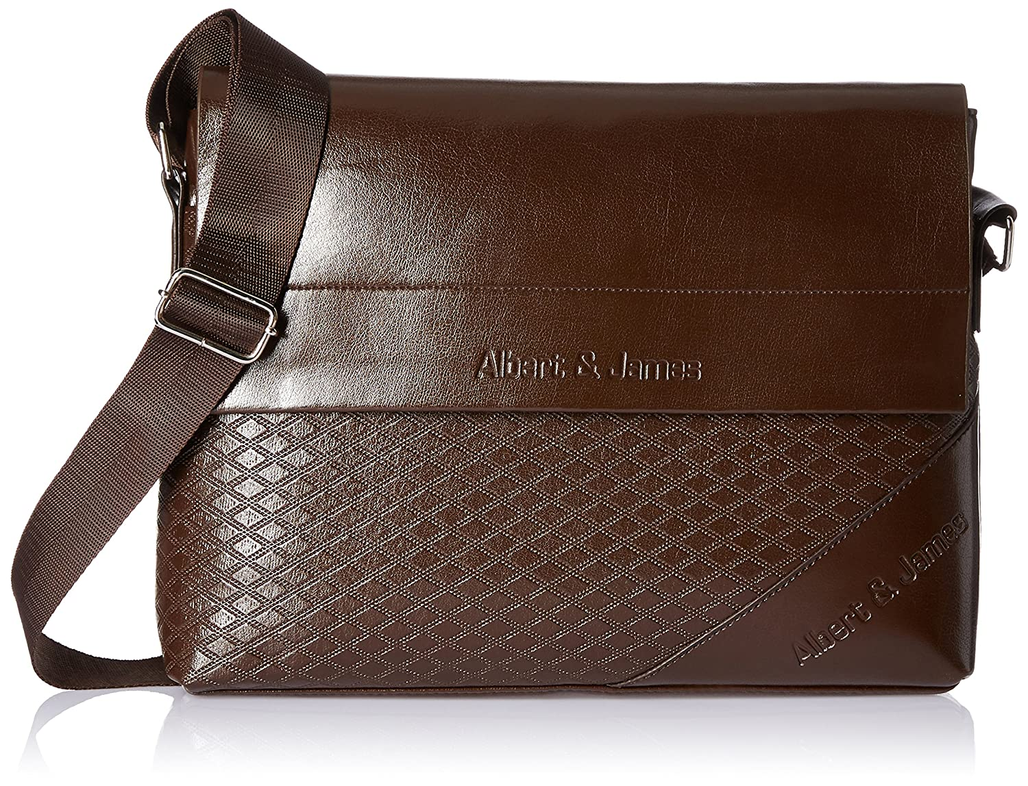 2b18363c1992 Albert and James Synthetic Brown Messenger Bag  Amazon.in  Bags ...