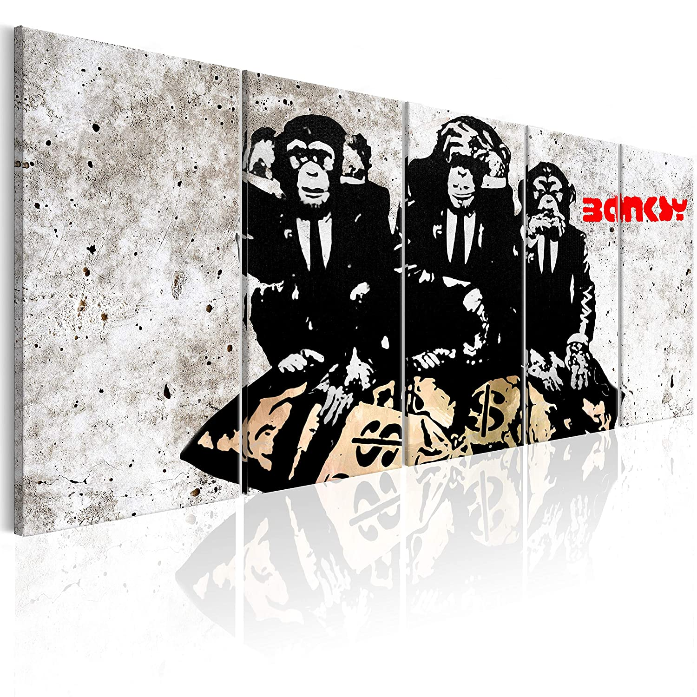 murando Akustikbild Banksy Affen 225x90 cm Bilder Hochleistungsschallabsorber Schallschutz Vlies Leinwand Akustikdämmung 5 TLG Wandbild Raumakustik Schalldämmung - Street Art Urban i-C-0115-b-m