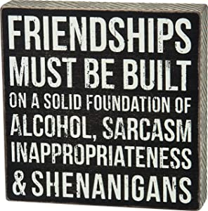"Primitives by Kathy 27245 Chevron Trimmed Box Sign, 8"" x 8"", Friendships Must Be Built"