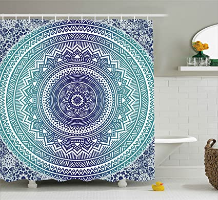 Ambesonne Navy And Teal Shower Curtain Ombre Mandala Old Ethnic Art With Mehndi Style Effects
