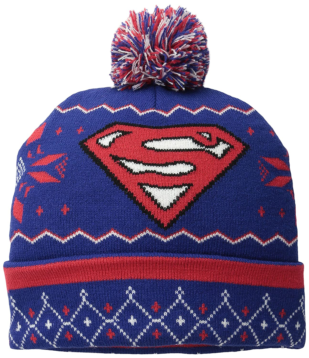 Superman Men's Fair Isle Cuff Pom Beanie Navy One Size EMSM1104AZ