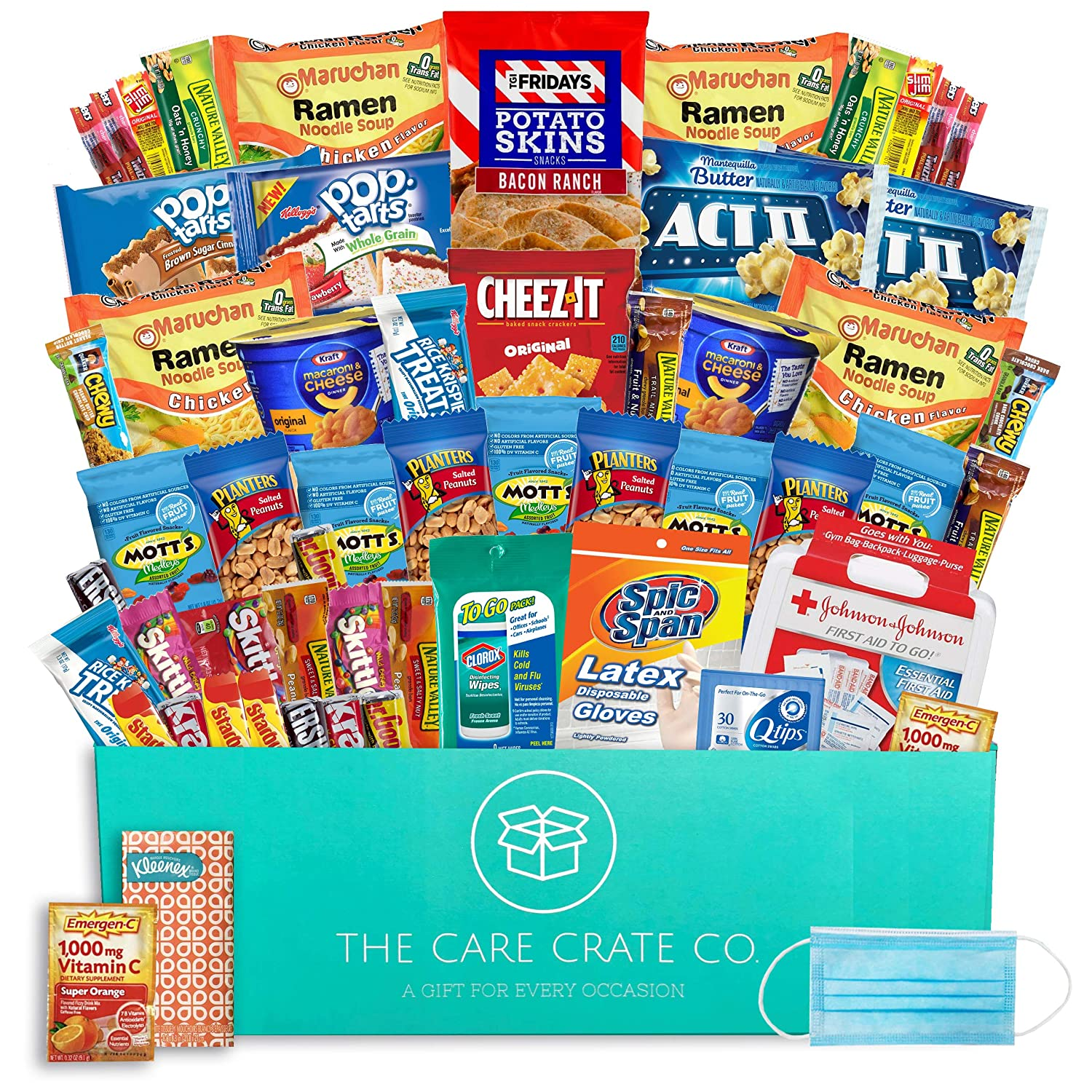 The Care Crate Personal Care Kit - 70 Piece Bulk Snacks, Microwaveable Meals And Personal Care Items Including Mac & Cheese Cups, Ramen Noodles, Nature Valley Bars, First Aid Kit, Qtips, Wipes & More