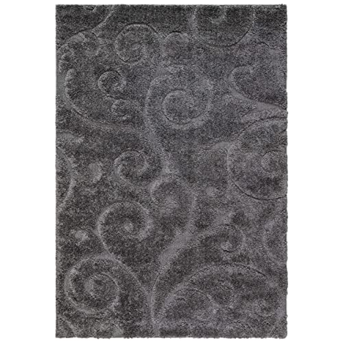 Safavieh Florida Shag Collection SG455-8013 Scrolling Vine Grey Graceful Swirl Area Rug 6 x 9