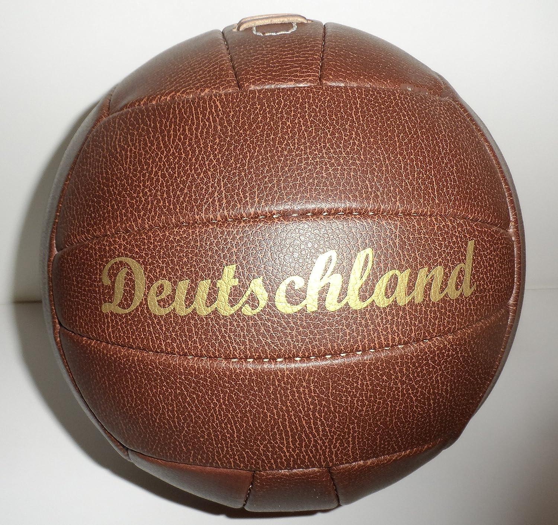 Fútbol/bola/marrón/Gr.{5}/ diseño de/diseño de/balón con diseño retro piel sintética rematada con remaches y dorado print emblema de Alemania Bavaria Home Style Collection