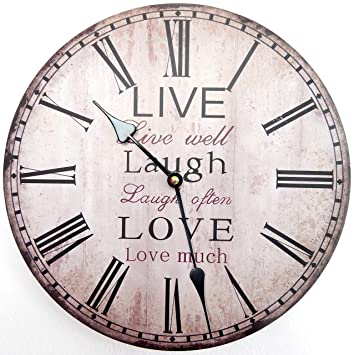 Reloj de Pared Diseno Reloj de Cocina decoracion (Live Lough Love): Amazon.es: Hogar
