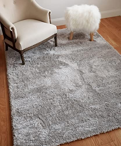 Well Woven Super Soft Faux Fur Shag 4×6 3 11 x 5 3 Area Rug Shag Silver Grey Plush Microfiber Thick Plush Pile