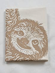 Tea Towel - Sloth - Mocha Brown - Organic Cotton - Flour Sack