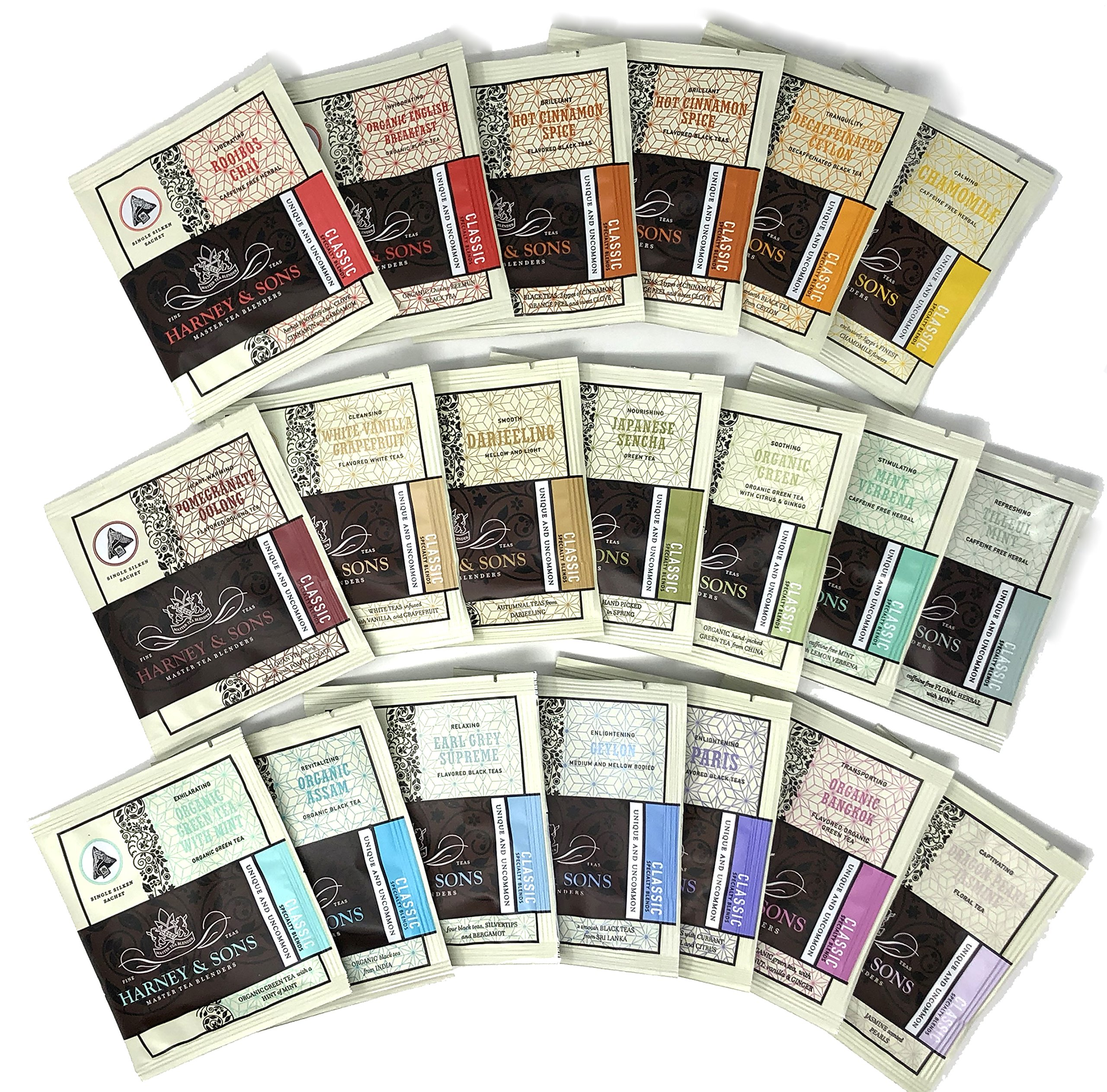 Harney & Sons Tea Gift Box Assorted Classic Tea Sachet Sampler 20 Count (19 Different Flavors) with Tea Time Card - Great for Birthday, Hostess and Co-worker Gifts