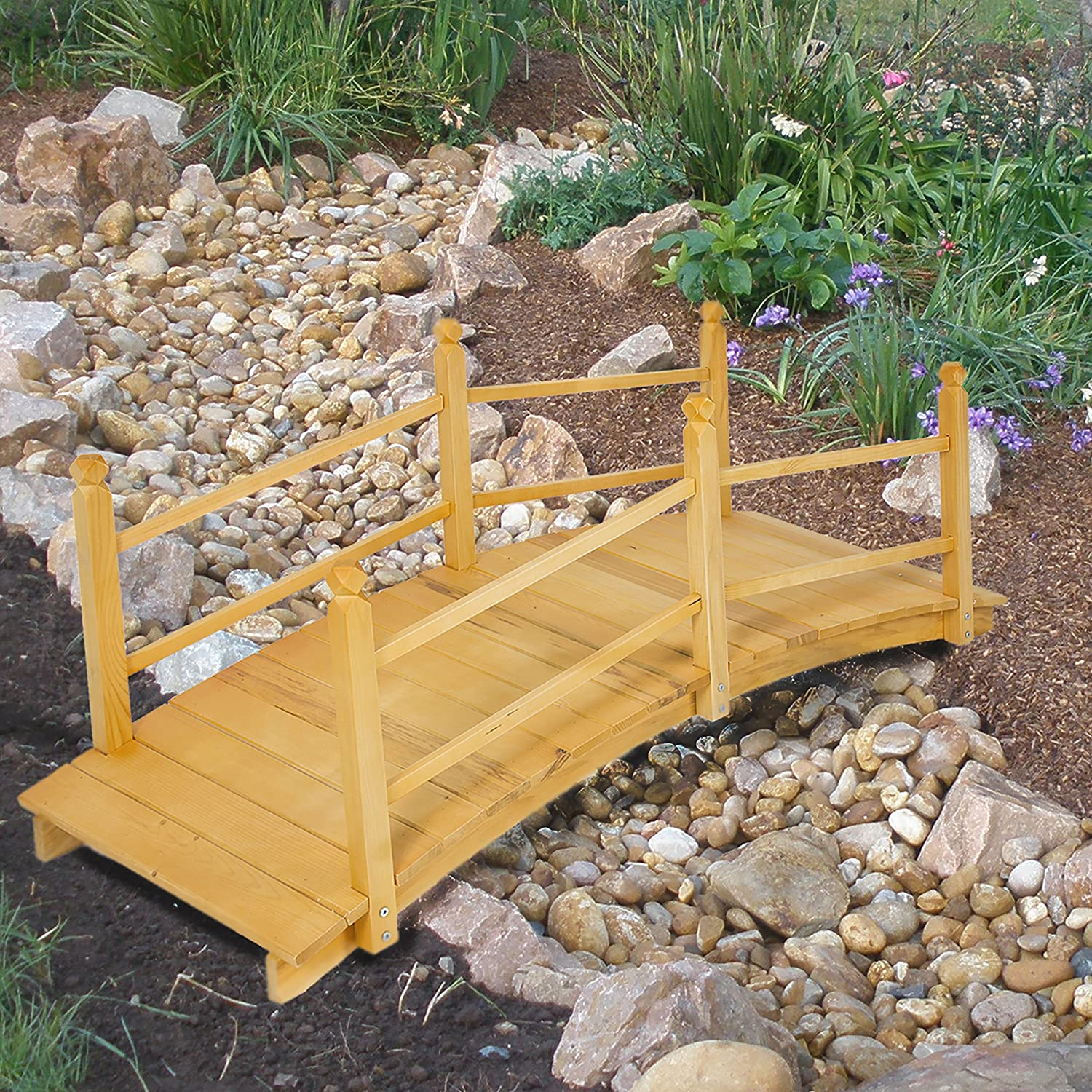 Amazon.com : Best Choice Products Wooden Bridge 5u0027 Natural Finish  Decorative Solid Wood Garden Pond Bridge New : Bridges For The Garden :  Garden U0026 Outdoor