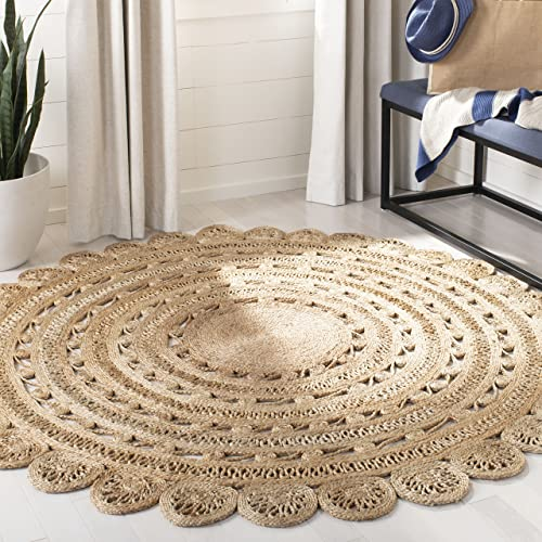 Safavieh Natural Fiber Collection NF805B Hand-woven Jute Area Rug, 10 Round, Natural