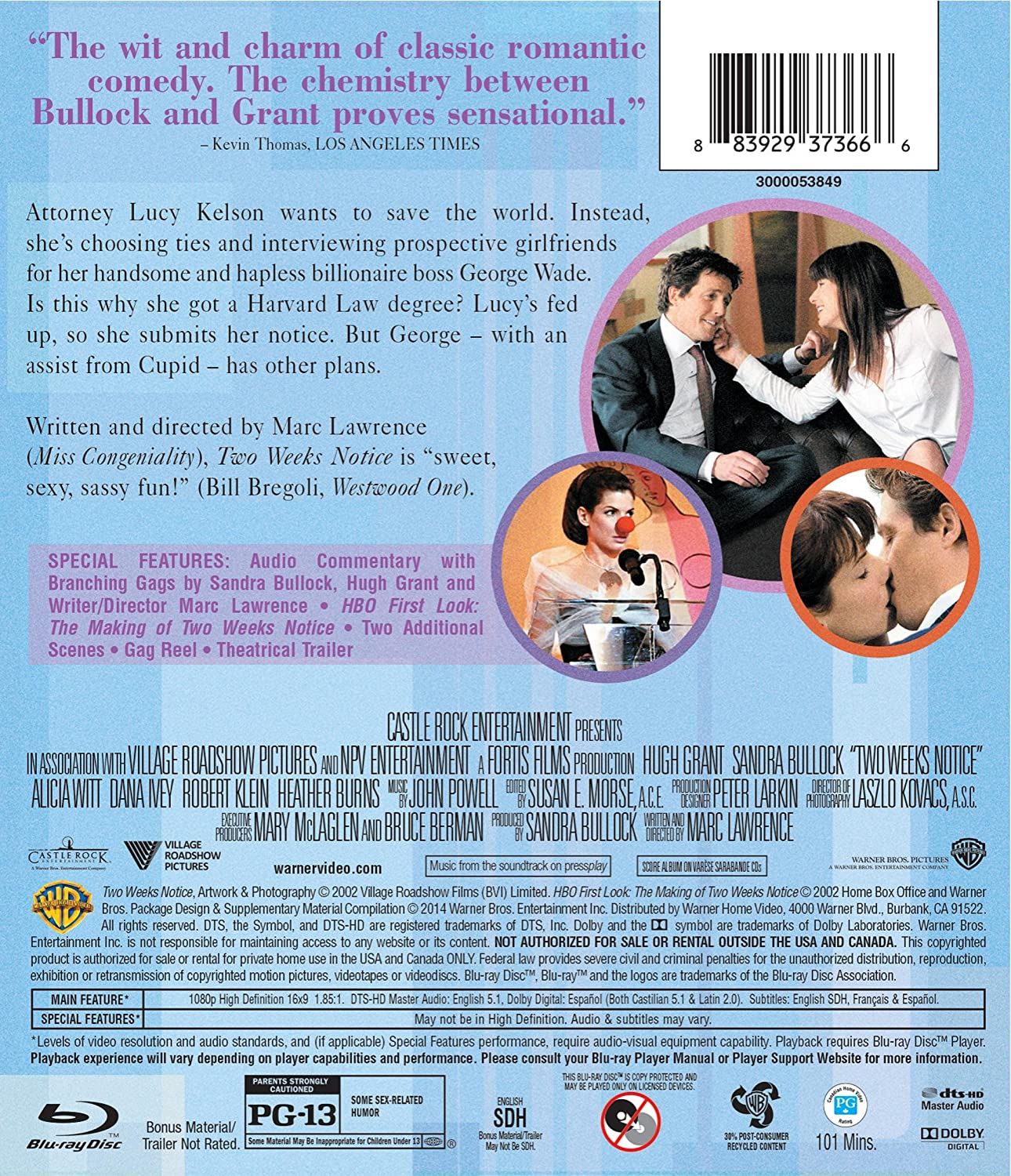 amazon com two weeks notice bd blu ray hugh grant sandra amazon com two weeks notice bd blu ray hugh grant sandra bullock alicia witt dana ivey robert klein heather burns david haig dorian missick