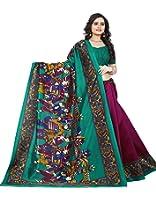 Jaanvi Fashion Women's Art Silk Kalamkari Printed Saree (Wine_Warli)