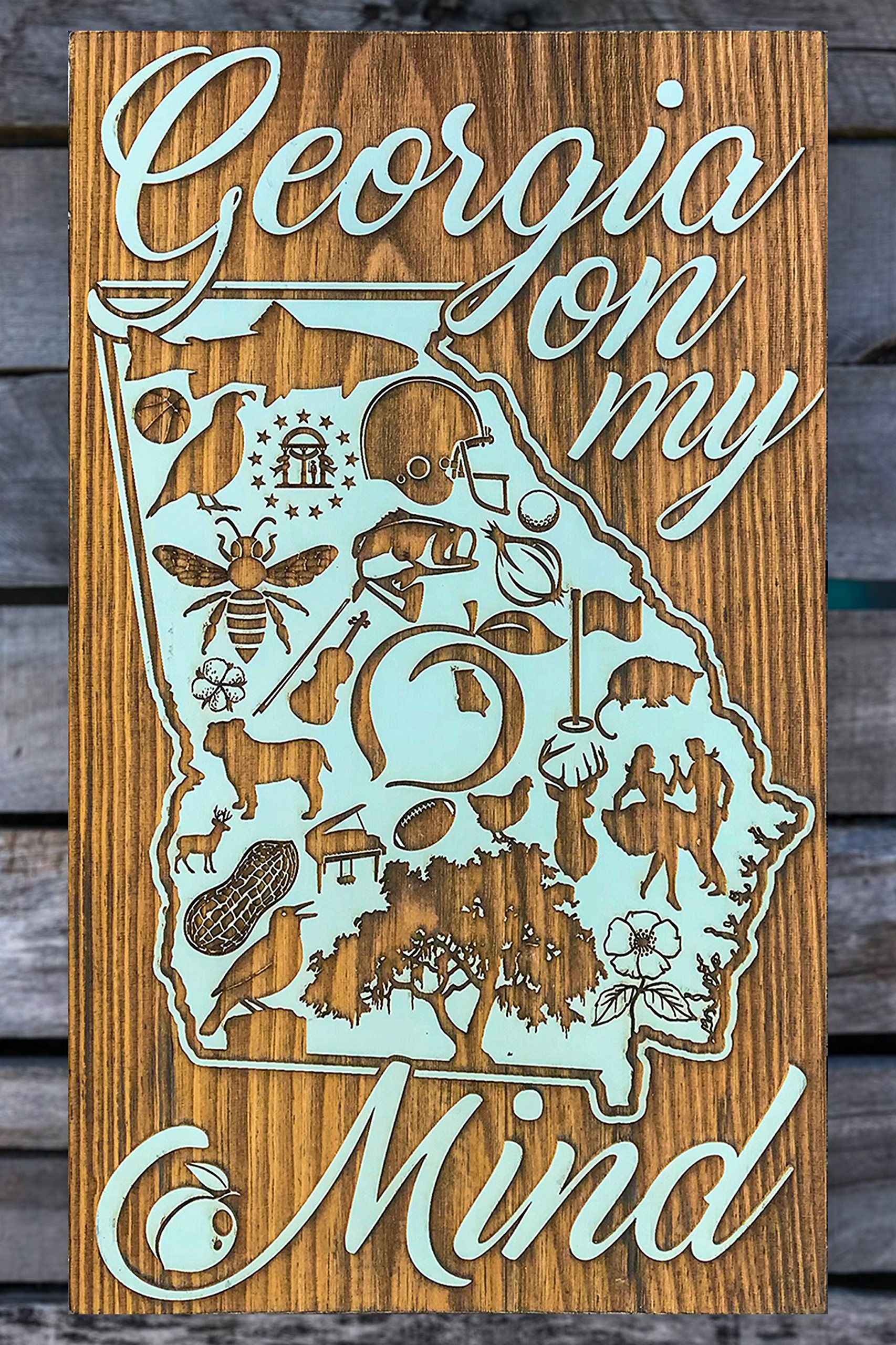 State of Georgia Abstract wood engraved map