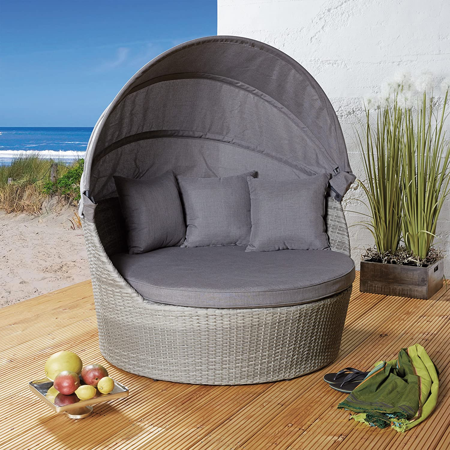 strandkorb poly rattan liegeinsel sonneninsel hell gartenmuschel gartenm bel jetzt bestellen. Black Bedroom Furniture Sets. Home Design Ideas