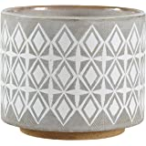 "Amazon Brand – Rivet Geometric Ceramic Planter, 6.5""H, White and Grey"