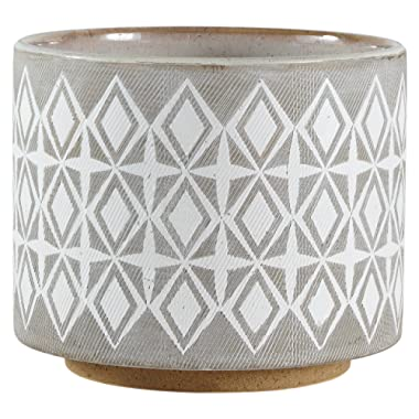 Rivet Geometric Ceramic Planter Pot, 6.5 Inch Height, White and Gray