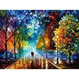 "DIY Paint by Numbers for Adults - Autumn Raining Night Landscape w/Impressionist-Style Pastoral Scene | Pre-Printed Art-Quality Canvas, 3 Brushes, 24 Acrylic Paints Included, 20"" x 16"""