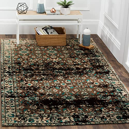 Safavieh Classic Vintage Collection CLV226A Teal and Beige Area Rug 8 x 10