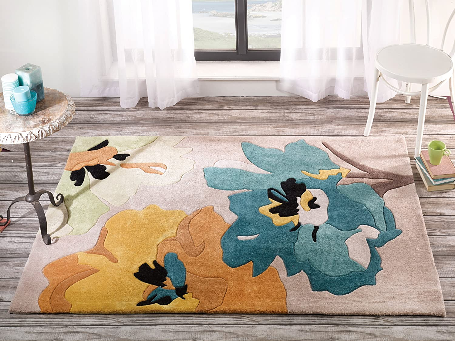 Quality contemporary flower design turquoise yellow area rug in 80 x quality contemporary flower design turquoise yellow area rug in 80 x 150 cm 26 x 5 carpet amazon kitchen home mightylinksfo