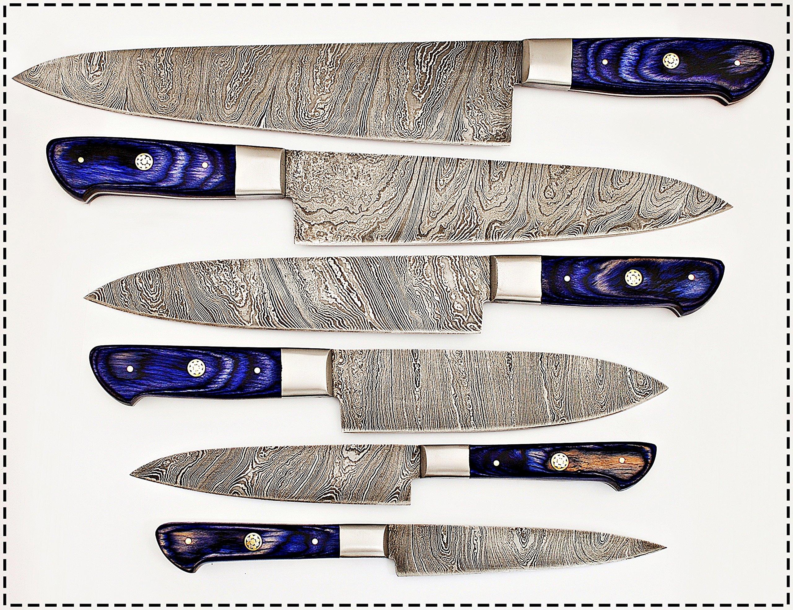 06 Pc's Custom Damascus Steel kitchen knife set 1071 (Purple)