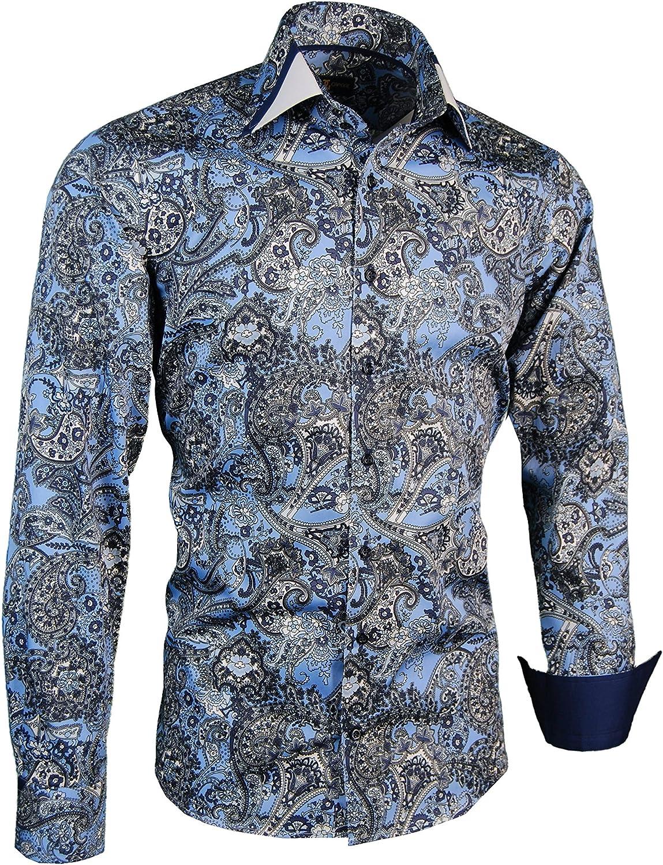 Giorgio Capone Camisa Premium para Hombre, Paisley Negro-Azul-Blanco, 100% Algodon, Slim/Normal & Regular-Plus Fit (L Reg con Bolsillo): Amazon.es: Ropa y accesorios