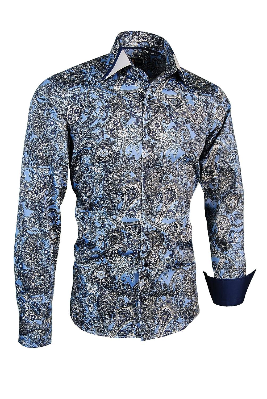 Giorgio Capone Herrenhemd, 100% Baumwolle, Blau-Schwarz-Weiß mit ...
