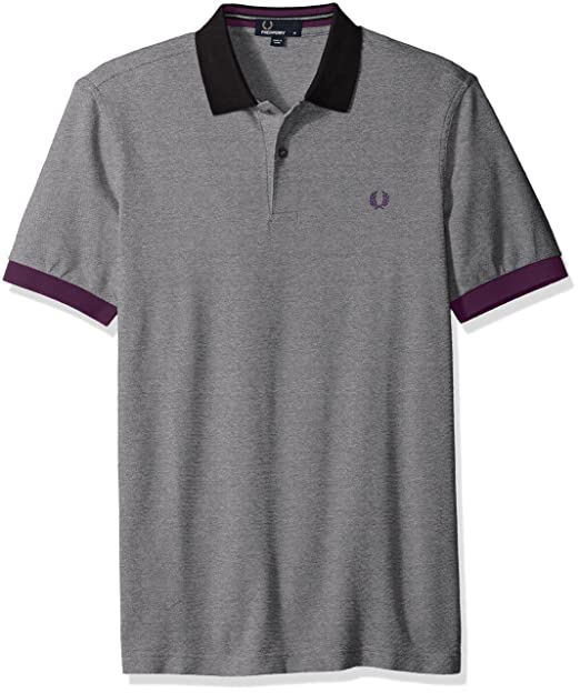 Fred Perry Camisa de Polo de piqué de color bloque Negro M: Amazon ...