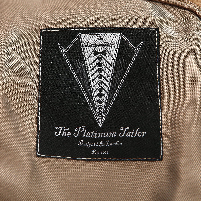 The Platinum Tailor Herren Zweireiher Kamel Braun Cashmere /& Wollmantel mit Samtkragen und Goldfutter