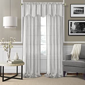 "Elrene Home Fashions 26865876253 Rod Pocket Sheer Window Curtain Drape Panel, Set of 2, 52"" x 84"", White"