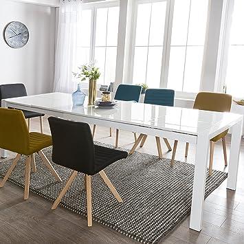Perfekt FineBuy Esszimmertisch GLOSS Ausziehbar 140   230 Cm Esstisch Hochglanz  Weiß | Esstisch Für 6