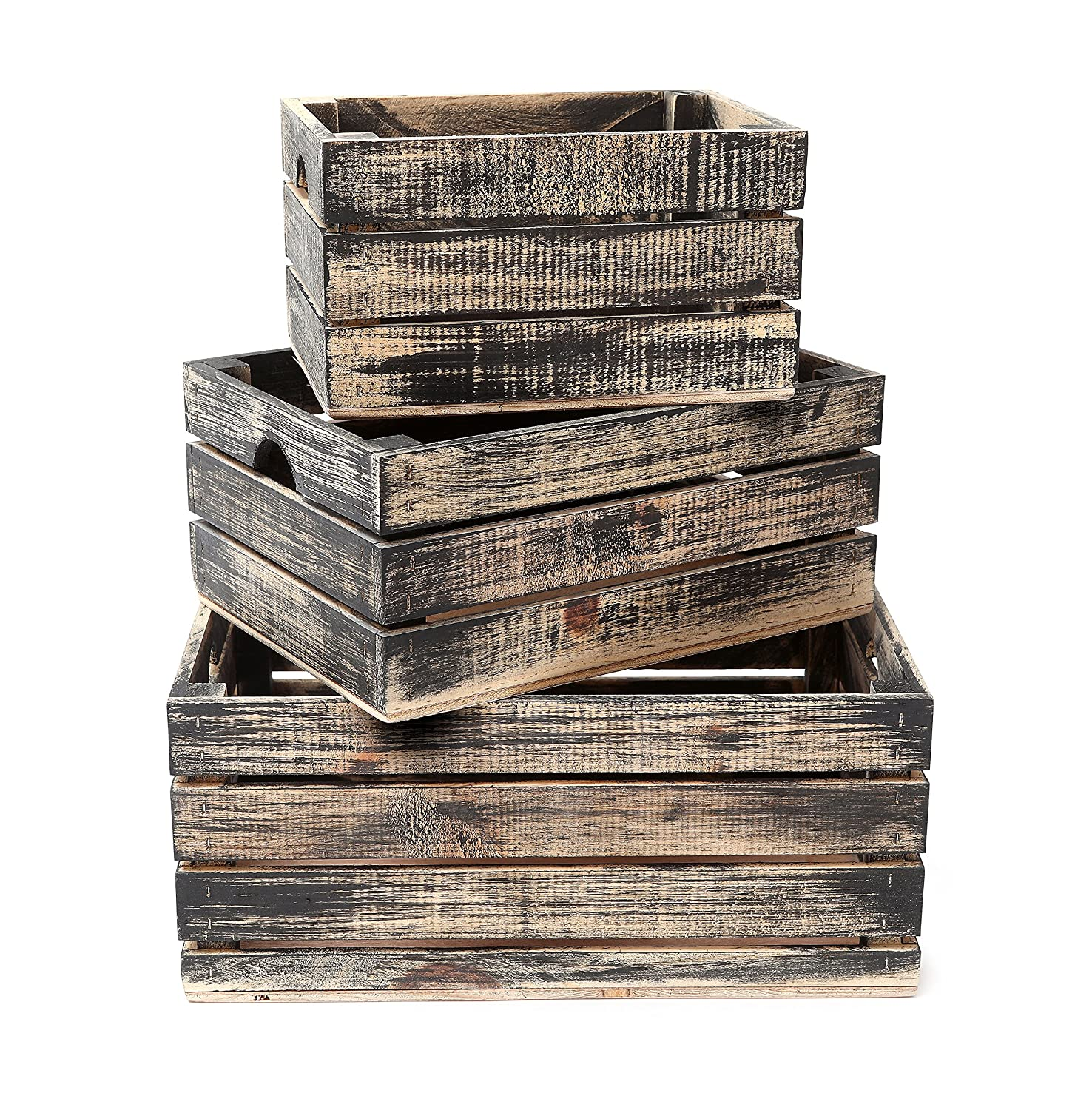 Rustic Decorative Wood Crates (Set of 3) (Black and Natural Distressed) Winship Stake and Lath Inc.