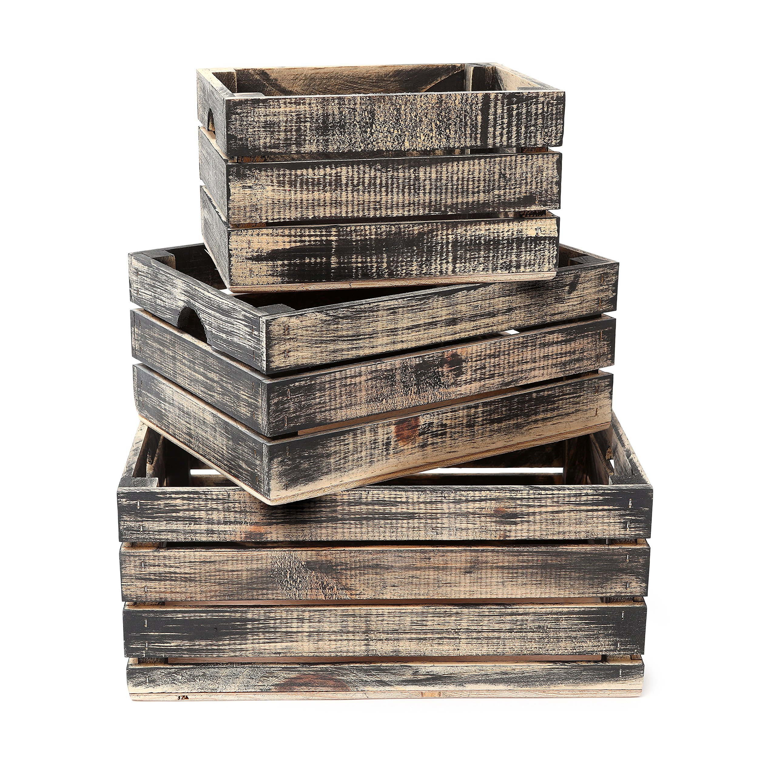 Rustic Decorative Wood Crates (Set of 3) (Black and Natural Distressed)