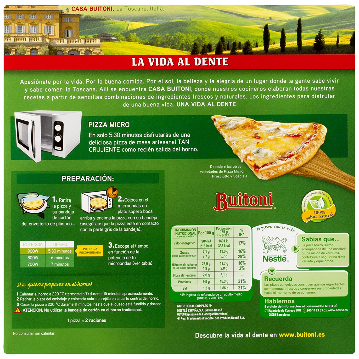 Buitoni 4 Quesos Pizza Microondas - 310 gr: Amazon.es ...