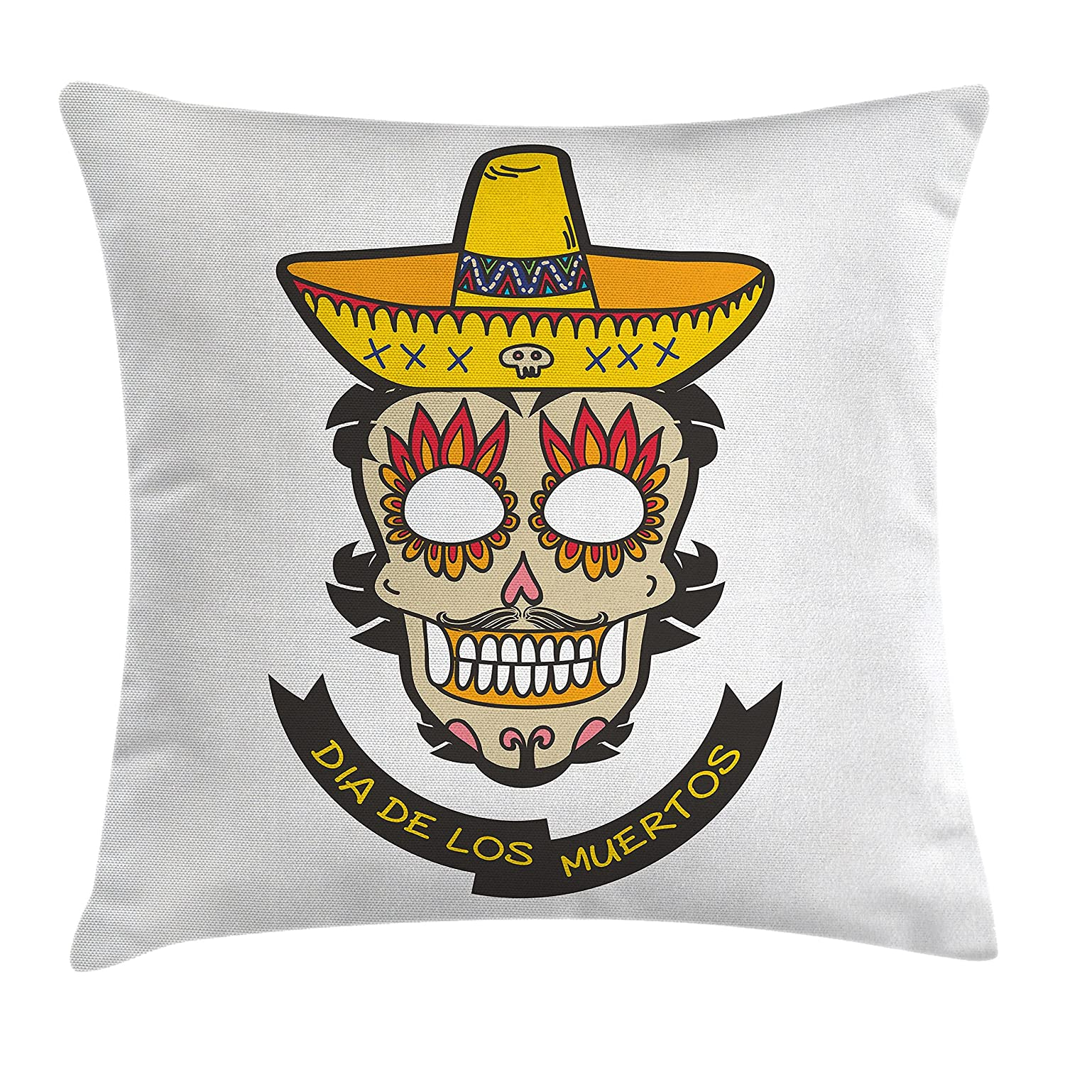 White Ivory and Yellow Colorful Skull with Sombrero and Moustache and Fire Eyes Decorative Square Accent Pillow Case Ambesonne Day of The Dead Decor Throw Pillow Cushion Cover 18 X 18 Inches