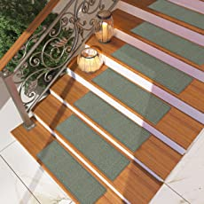 [Set Of 7] Blue Solid Color Stair Tread Rugs | Modern Design Carpet Treads