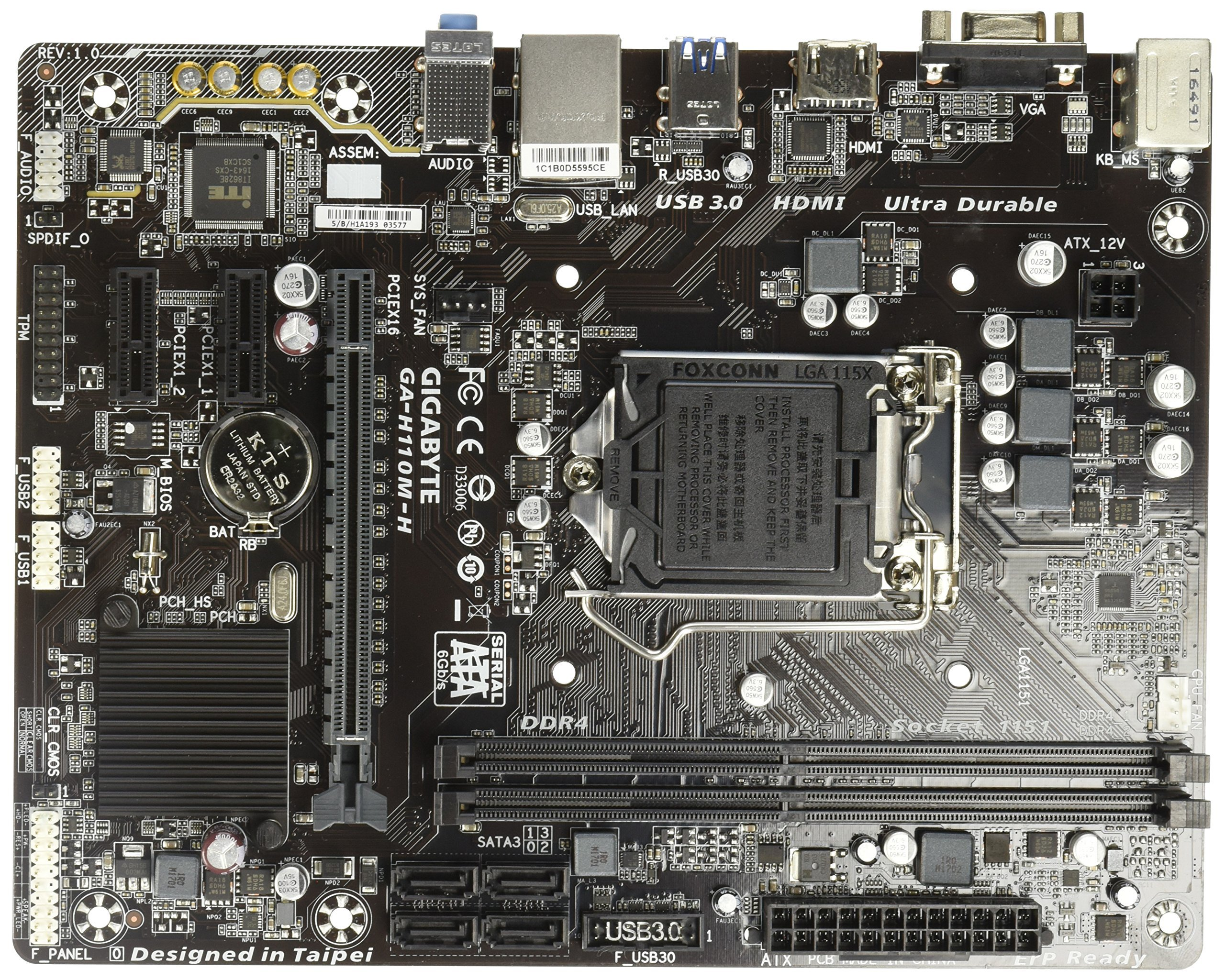 Gigabyte Micro ATX 2 x DDR4 DIMM 4 x SATA 6Gb/s Motherboard (GA-H110M-H) by Gigabyte