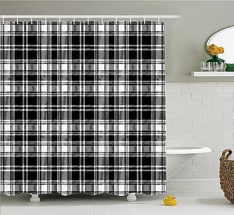 Amazon.com: Plaid Shower Curtain by Lunarable, Monochrome Style ...