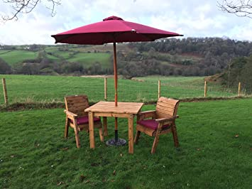 Square Wooden Garden Table and 45 Chairs Diner with Parasol, Base ...