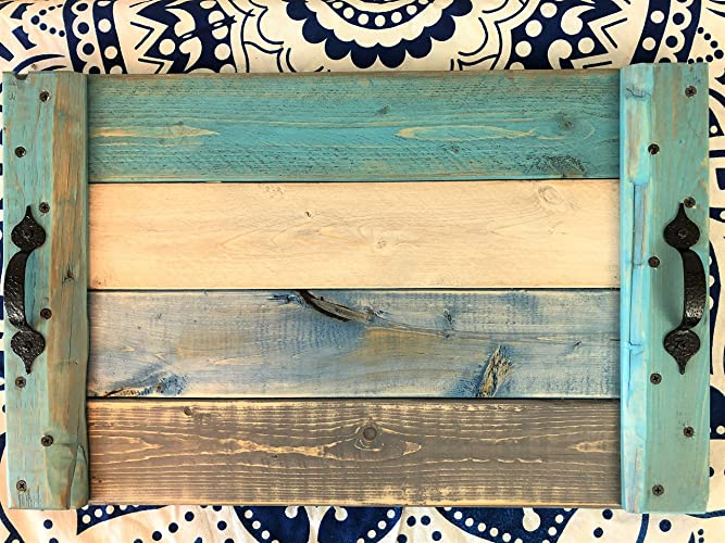 Distressed Beach Colors Wood Serving Coffee Table Tray