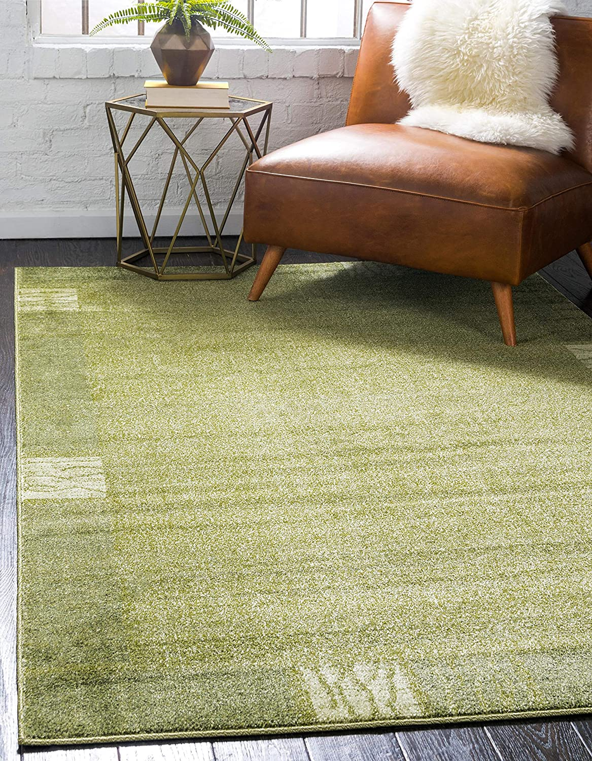 Unique Loom Del Mar Collection Contemporary Transitional Light Green Area Rug (5' 0 x 8' 0)