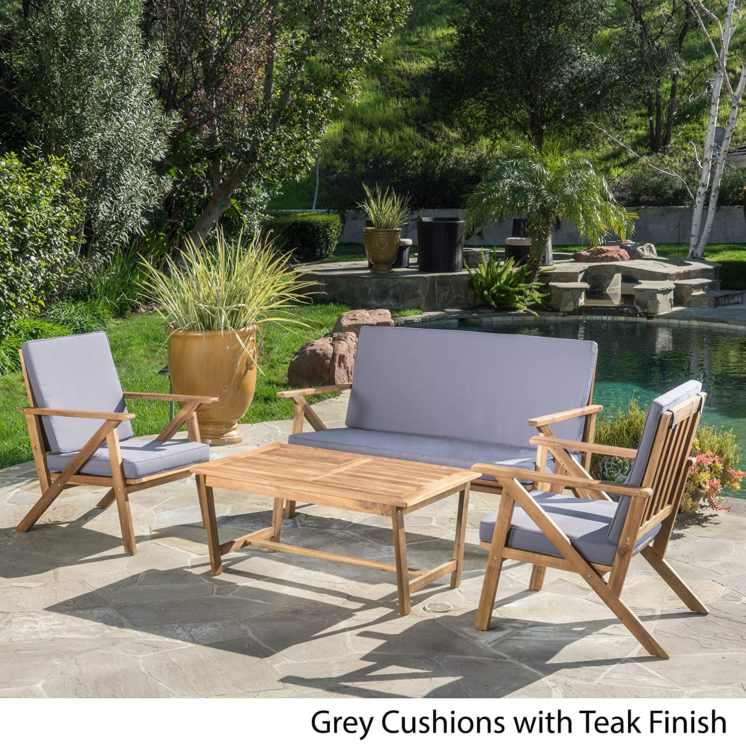 Amazon com christopher knight home 300251 manarola 4 piece outdoor acacia wood chat set in teak finish grey garden outdoor