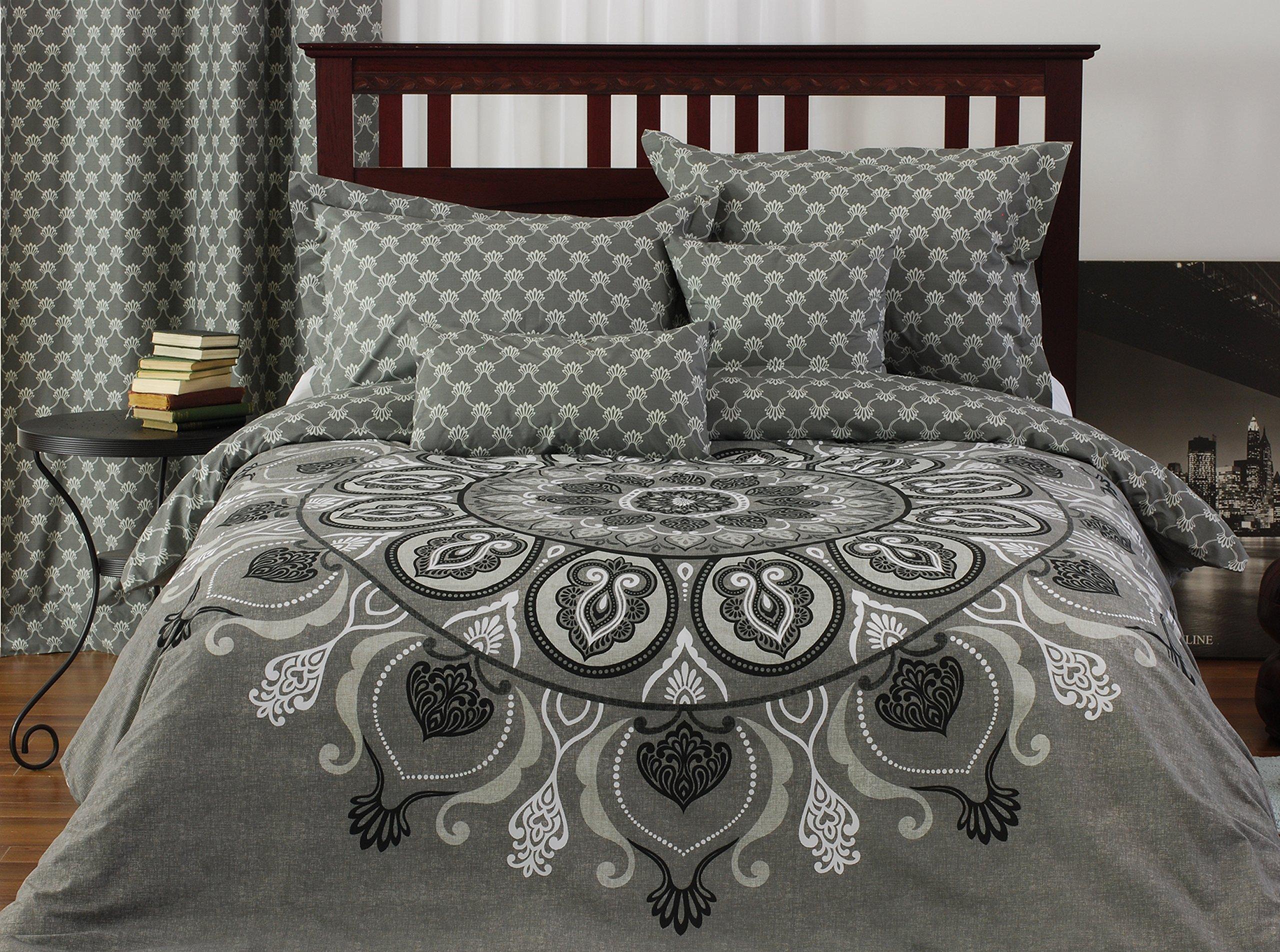Viceroy 5-piece reversible Duvet Cover Set, King, medallion, Moroccan tile, greys, onyx, white