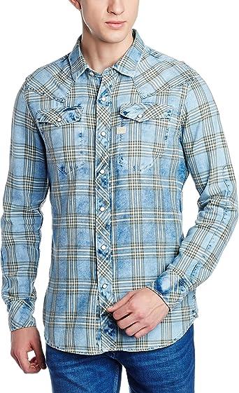 G-STAR RAW Tacoma Shirt l Camisa, Azul (Indigo/Dk Bronze Green Check 6555), Small (Talla del Fabricante: Small) para Hombre: Amazon.es: Ropa y accesorios