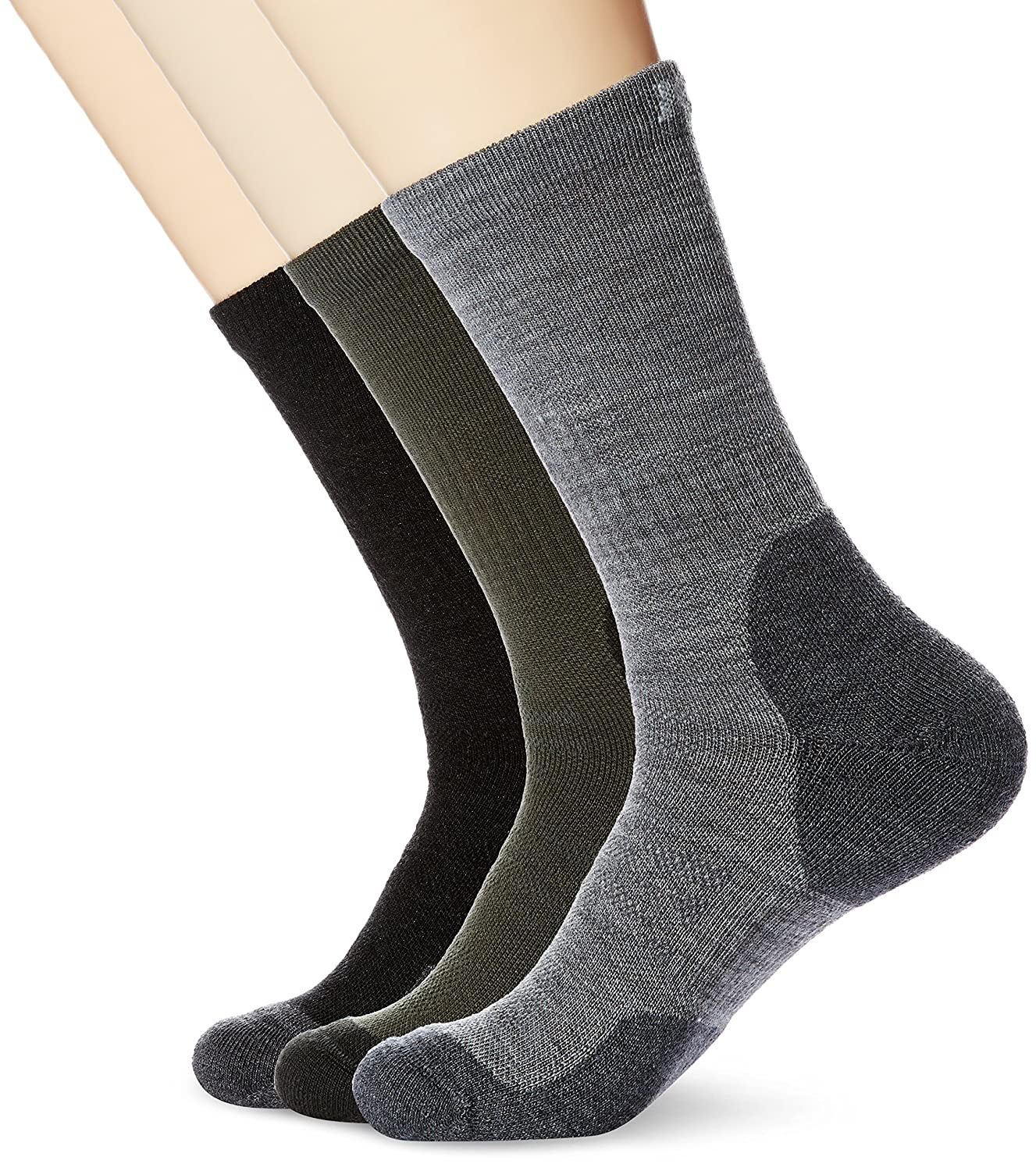 Casual Trekking Large Multicolored3 FFD4A11LO1 Kold Feet Mens Performance 3-Pair Comfort Merino Wool Crew Hiking Socks Cushioned Ankle Athletic Socks for Sports