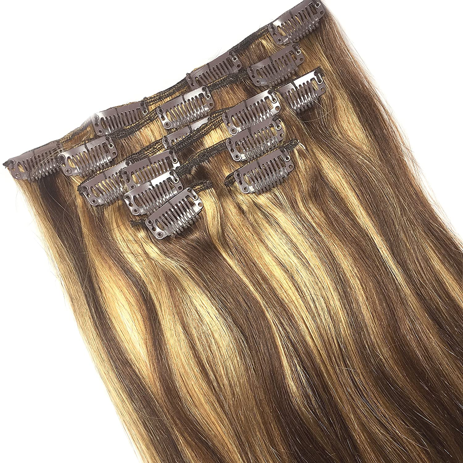 Amazon Clip In Human Hair Extensions Medium Brown With Honey