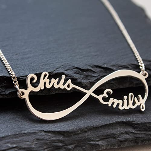 2b1ca6c2eab04 Personalized Infinity Necklace with Names - Sterling Silver Couple Infinity  Name Pendants