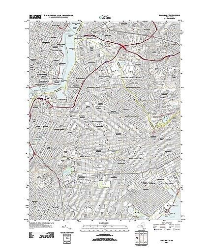 Amazon Com Topographic Map Poster Brooklyn Ny Tnm Geopdf 7 5x7 5